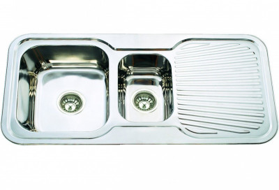 Tudor - Double Bowl And Drainer Sink